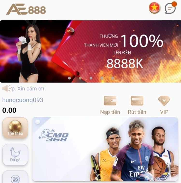 ứng dụng mobile AE888